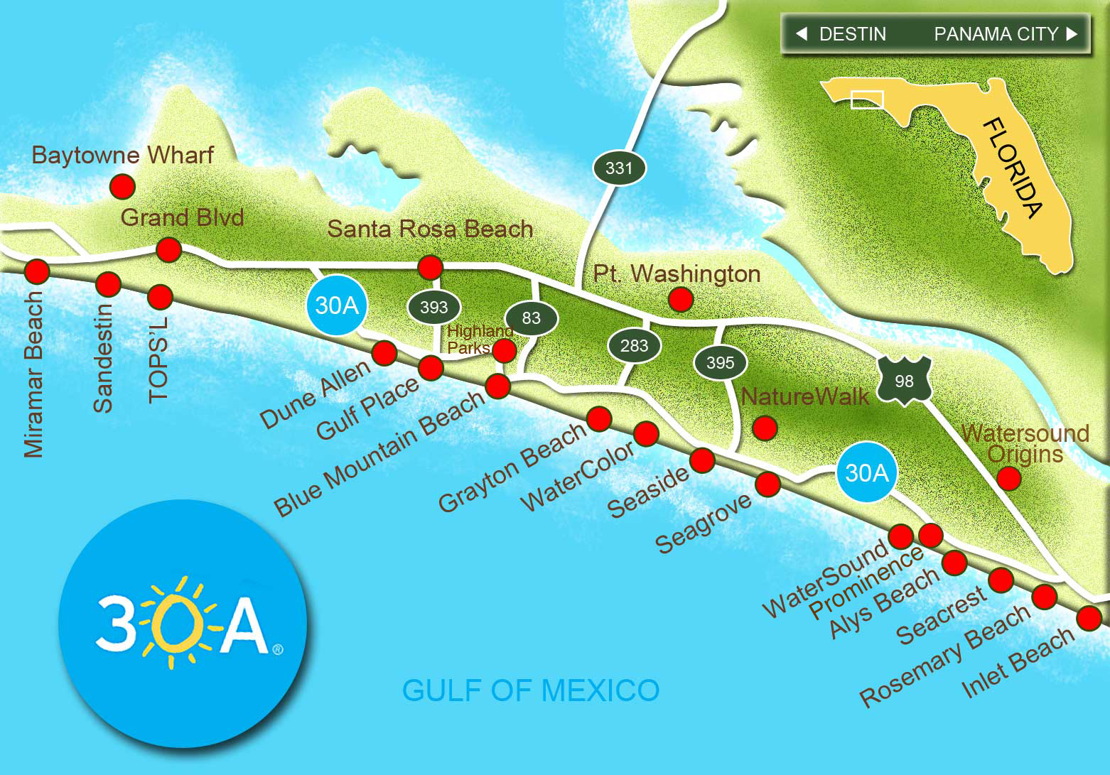 Map of Scenic 30A and South Walton Florida – Florida Tourist Attractions Map