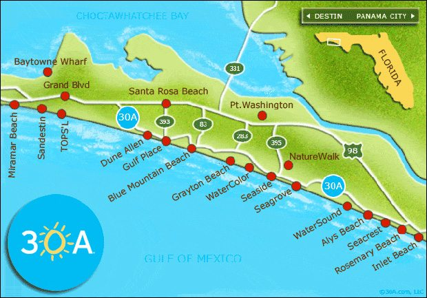 30a Map Of Towns.30a Map 30a
