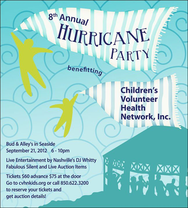 30A South Walton CVHN poster Hurricane Party Benefitting Childrens Volunteer Health Network