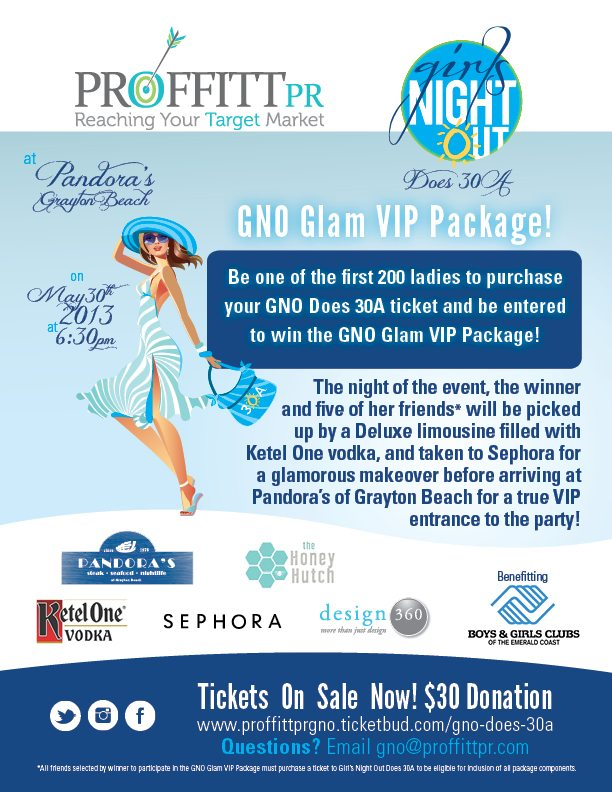 30A South Walton GNO Flyer 051313 Girls Night Out Comes to 30A for Charity on May 30th