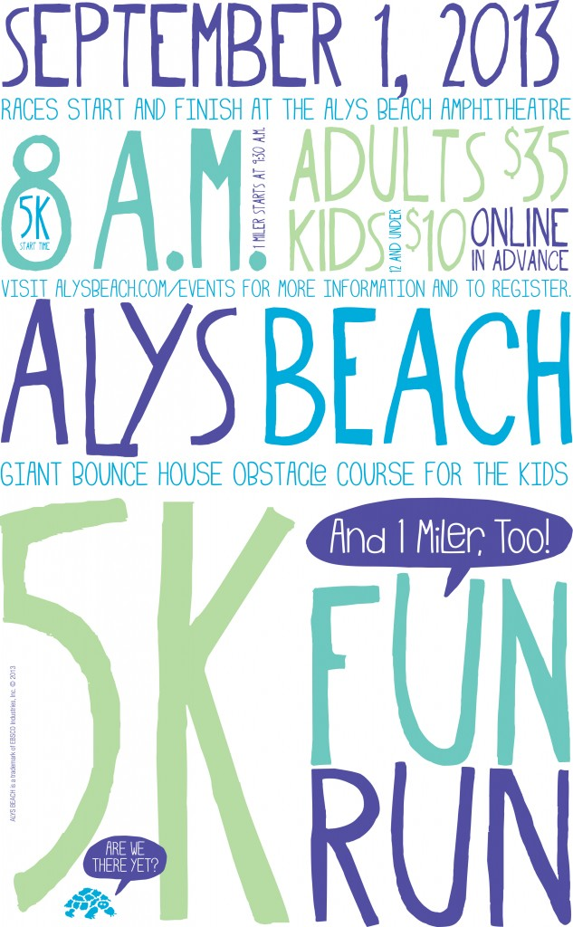 30A South Walton Alys 5K Poster Outlined 633x1024 Alys Beach 5K & 1 Mile Fun Run on Sept 1