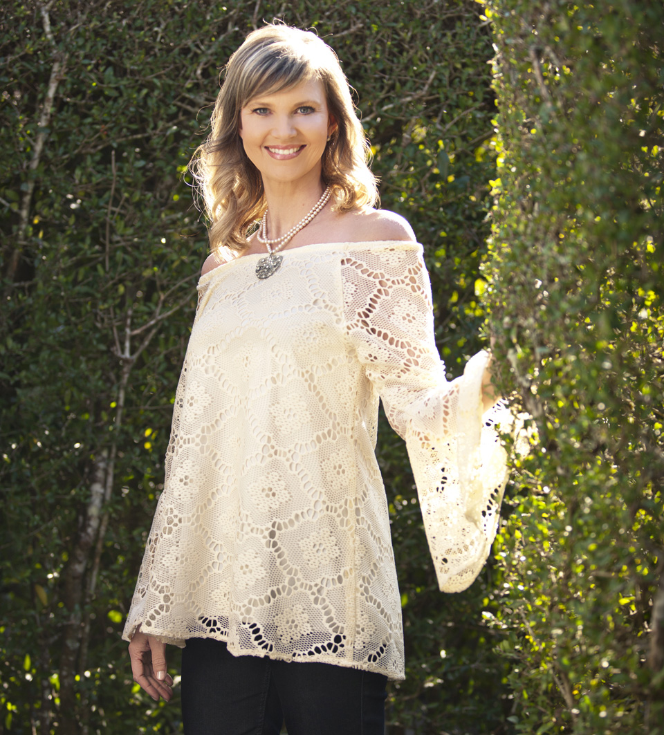 "Missy Robertson in ""Crochet Off-Shoulder Top With Flounce Sleeve"