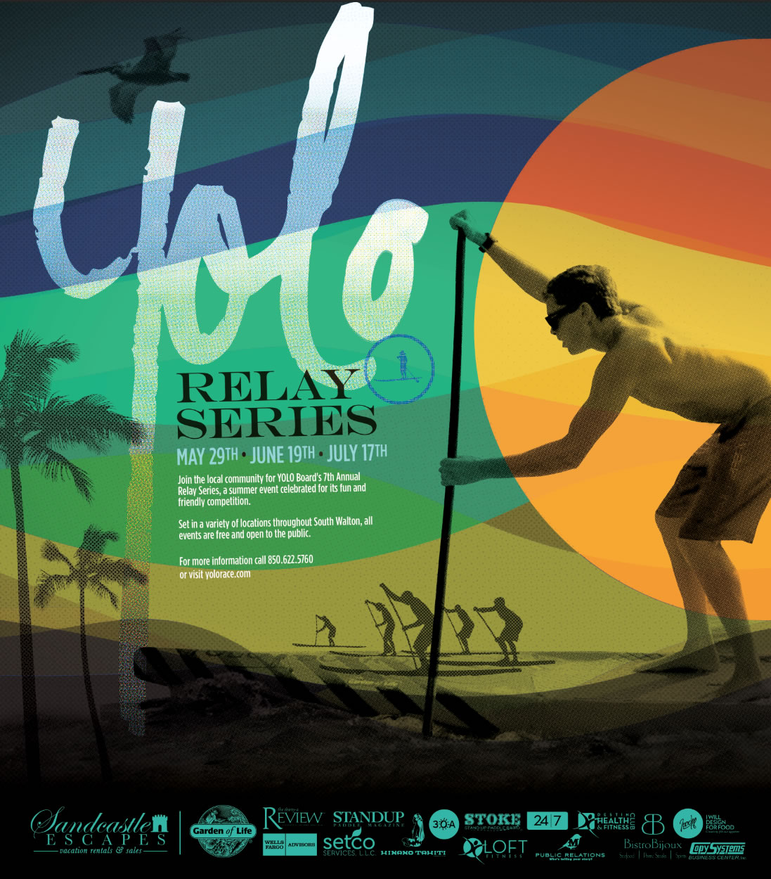 30A South Walton 2014 Relay Series Poster 7th Annual YOLO Board Relay Series Starts in WaterColor on May 29th