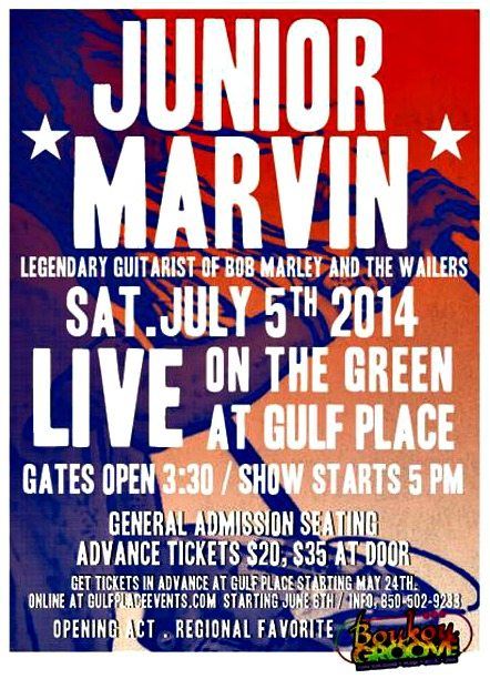 30A South Walton JM Junior Marvin    Legendary Guitarist of Bob Marleys Wailers    to Perform at Gulf Place on Saturday, July 5th