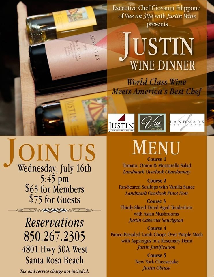 30A South Walton 10397032 739083769487061 2051602195067160336 o Special JUSTIN Wine Dinner at Vue on 30a on July 16