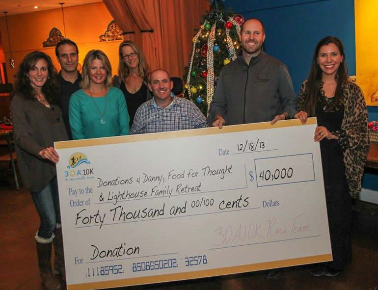Last year, 30A 10K presented a $40,000 check to Donations 4 Danny, Food For Thought Outreach Inc and Lighthouse Family Retreat.