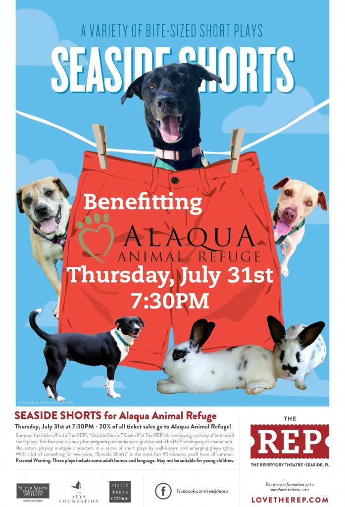 "30A South Walton REP Shorts  ALAQUA 697x1024 THURSDAY: ""Bite Size"" Plays at THE REP to Benefit Alaqua Animal Refuge"