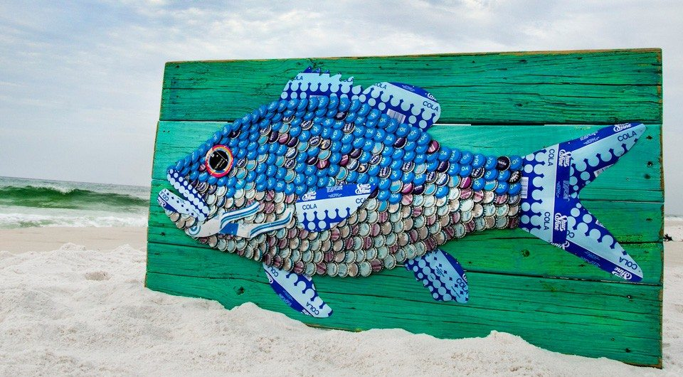 30A South Walton folk at fish 960 Win This $1,000 30A Beach Blonde Original by The Moore Family Folk Art!