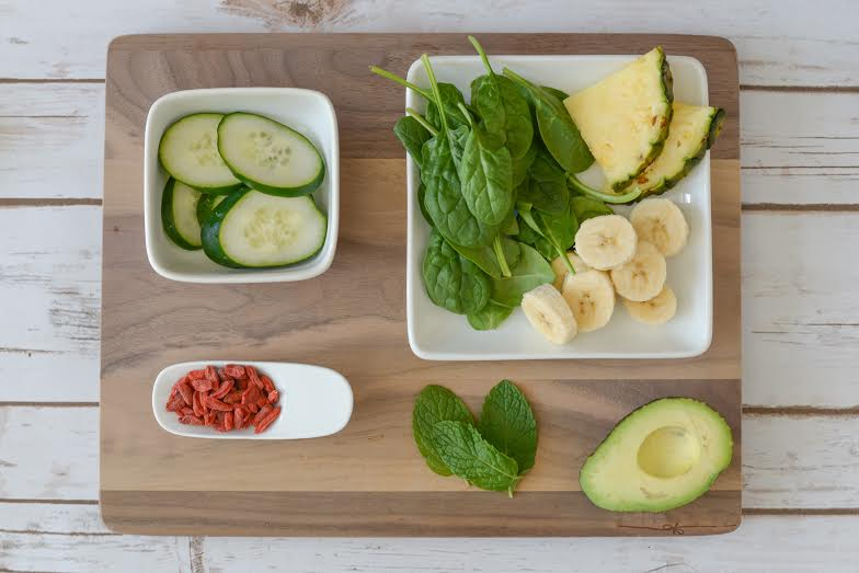 Formula Fresh Coffee & Juicery - Be Refreshed - cucumber, spinach, fresh mint, banana, pineapple, avocado, and goji berries.