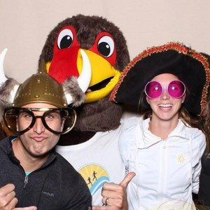 Founder of the 30A 10K Craig Baranowski and Amy Stoyles with Lucky the Turkey.