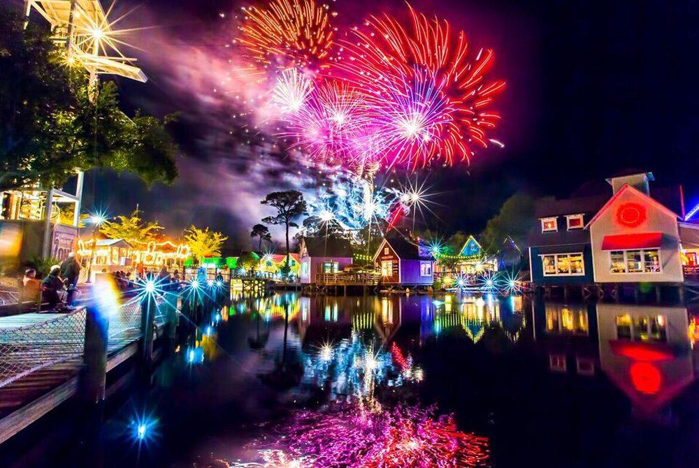 Fireworks over Baytowne Wharf. Photo by Sandestin Golf & Beach Resort.