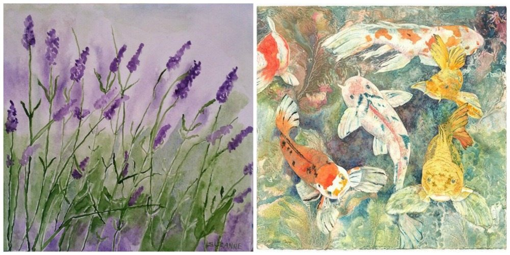 'Lavender Fields' by Suzanne LeLoup-West (Left) and 'A Breath of Fresh Air' by Jacques Camp