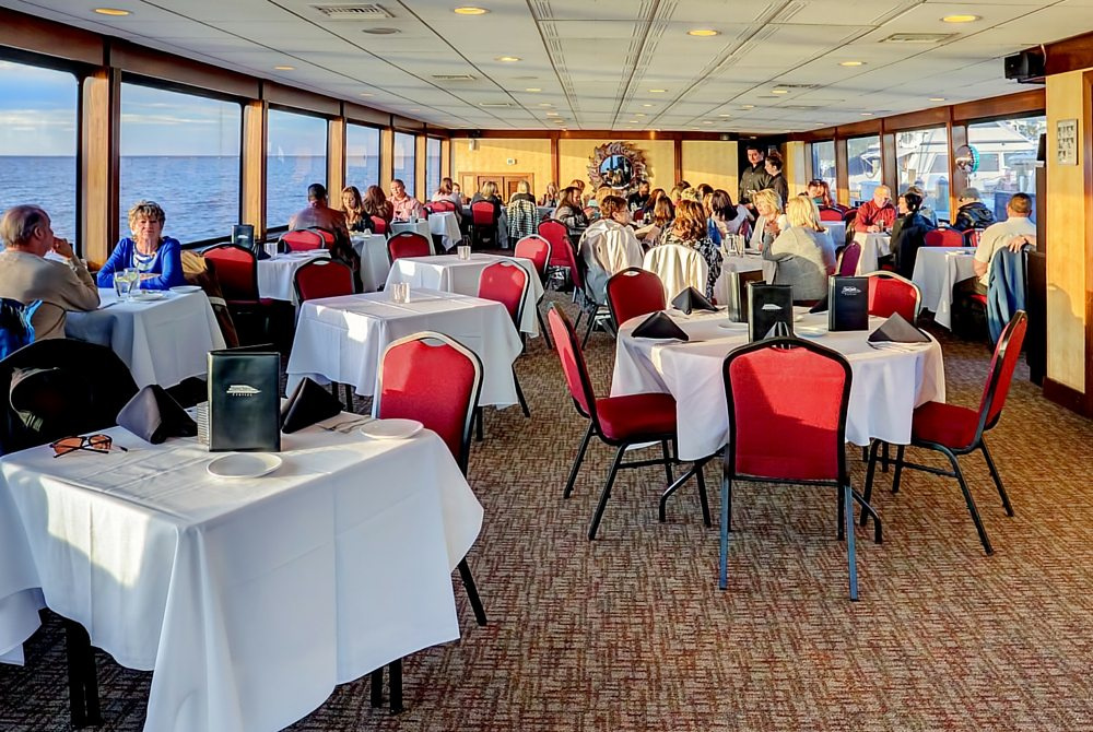 Enjoy your dinner with breathtaking views while on board the SOLARIS yacht.