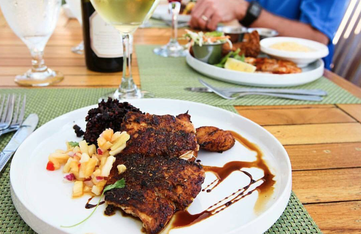 Jerk crusted Gulf snapper at George's at Alys Beach! Photo from Lee @dosaygive (Instagram)