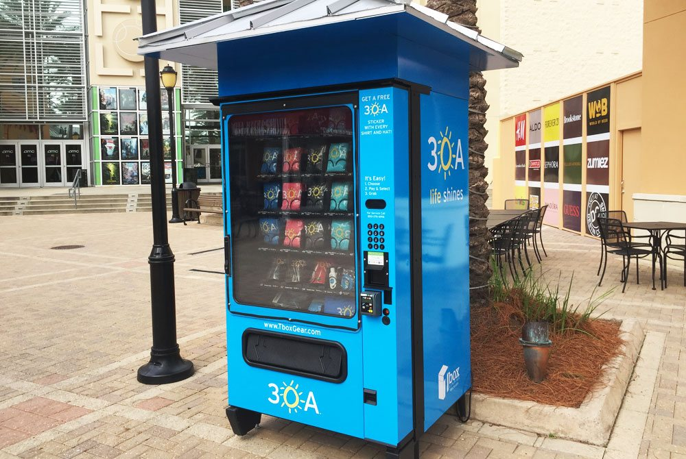 One of the 30A Gear Tee Boxes is located at Destin Commons in front of the movie theater.