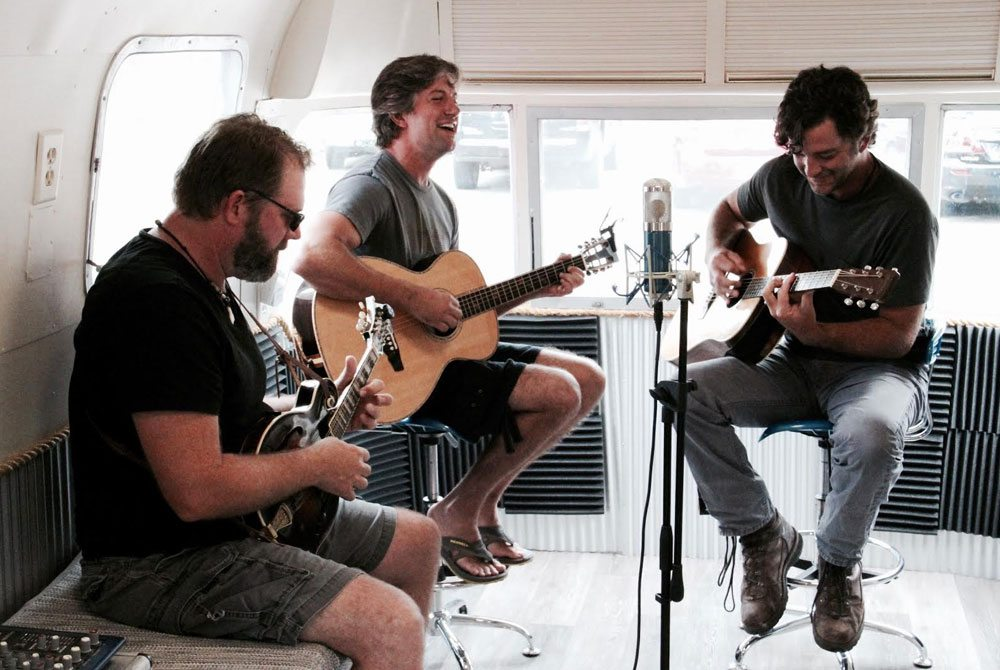 Balder Saunders, Forrest Williams and Kyle Ogle perform recently in the 30A Radio Airstream Studio.