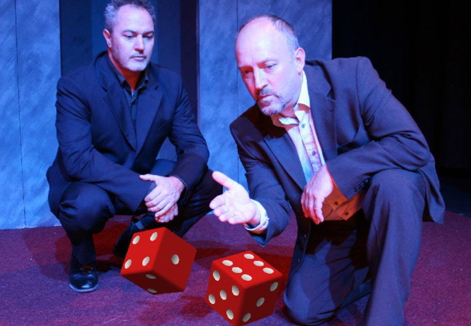 A still from The Six Sided Man, Presented by Company Gavin Roberts. Inspired by the cult novel, The Dice Man, performed by Gavin Robertson and Nicholas Collett