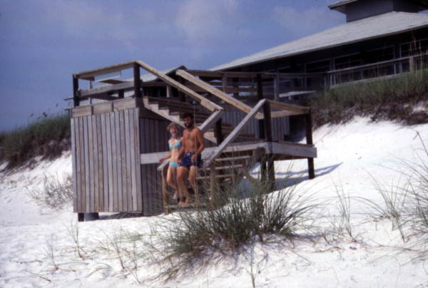 Unidentified couple by cabin at the Grayton Beach State Park. Credit: floridamemory.com