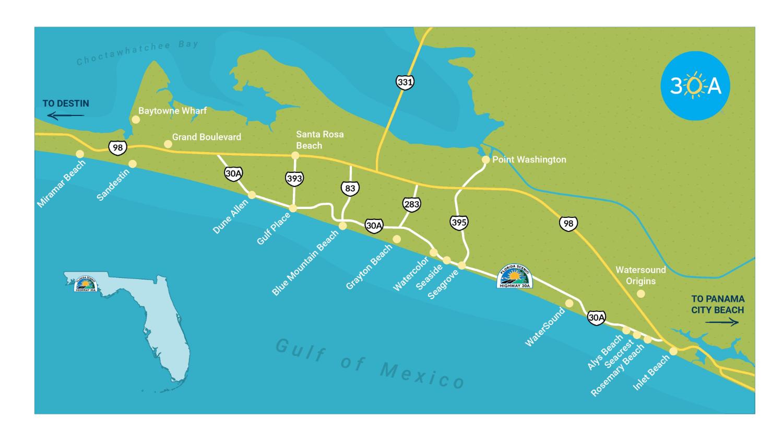30A Art 30A Art Print 30A Wall Art 30A Watercolor 30A Map Watercolor 30A Poster 30A Print Seaside Florida 30A Skyline Rosemary